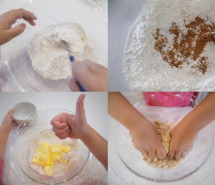 Combining flour, sugar, cinnamon and cutting butter into flour mixture.