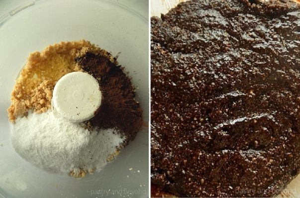 Mixing powdered sugar, egg white, cocoa powder and hazelnuts in a food processor.