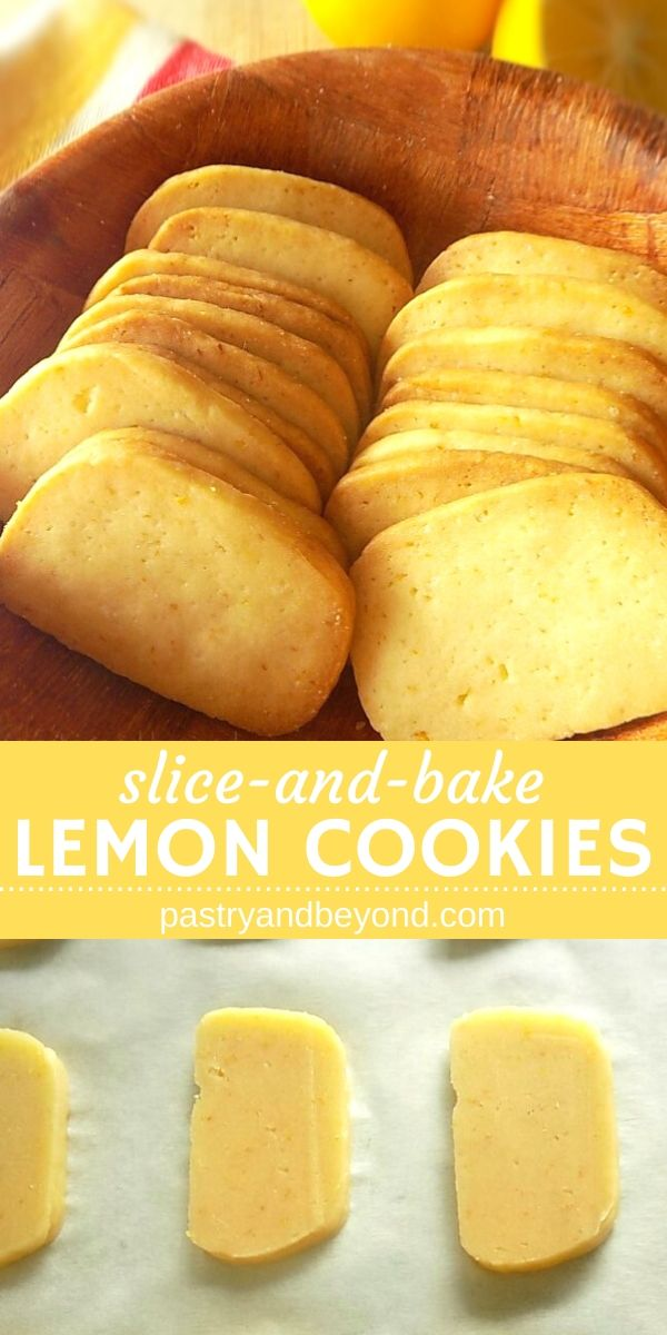 Collage for lemon cookies that are on a bowl and unbaked cookies on parchment paper.