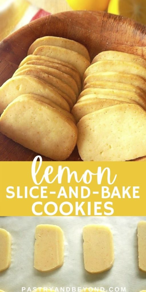 Collage for lemon slice and bake cookies that are in a row on a wooden bowl and uncooked cookies on parchment paper.