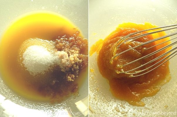 Melted butter, brown sugar and granulated sugar in a glass bowl. Mixing with a whisk.