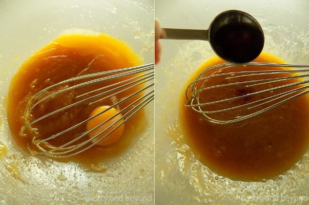 Mixing in the egg and vanilla extract into the sugar mixture and stirring with a whisk.