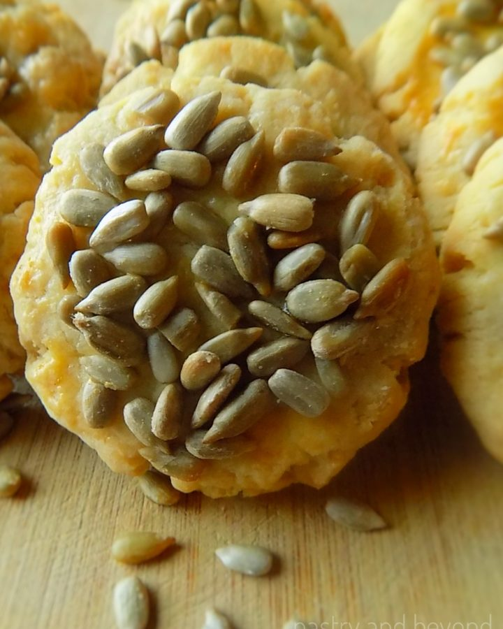 Savory sunflower seed cookies in a row.