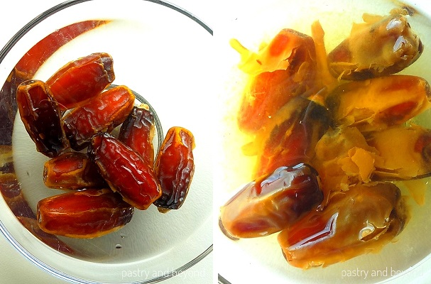 Dates are placed in a small bowl and soaked in warm water.