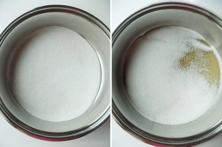 Collage of sugar in a big pan and sugar that starts to melt.