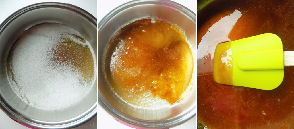 The process of melting sugar in a big pan; halfway melted sugar to fully melted.