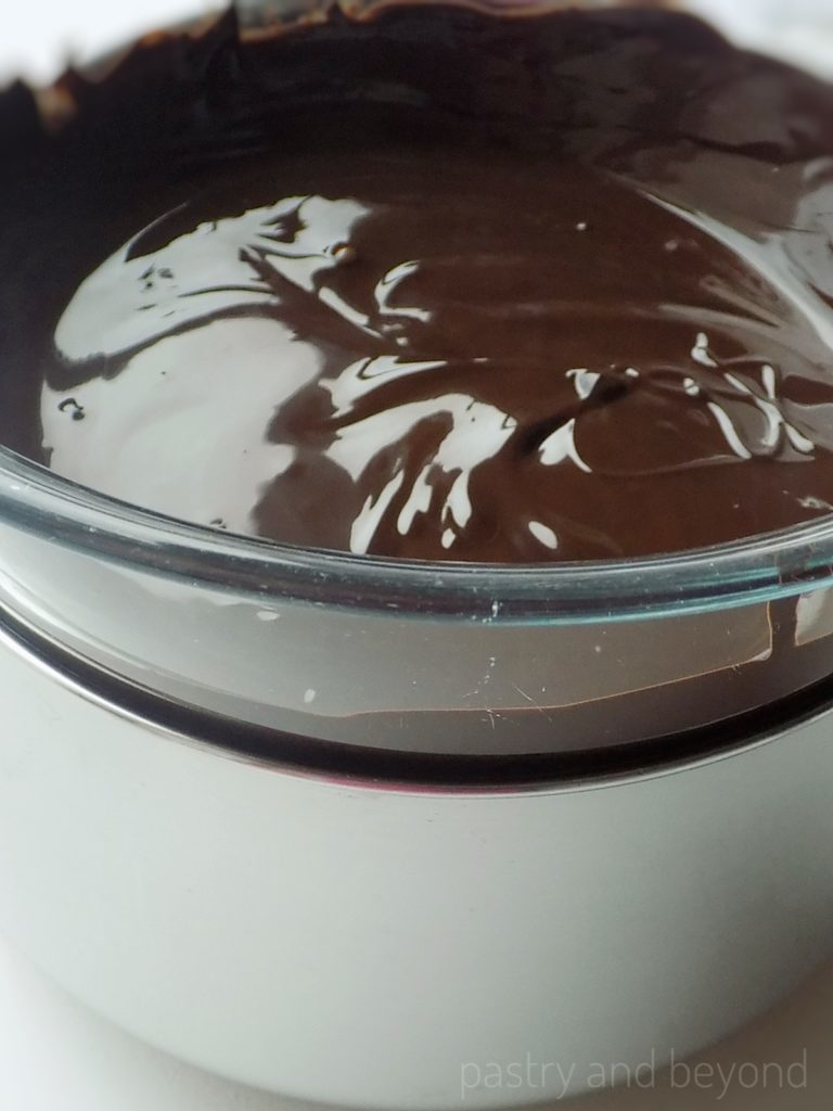 Melted chocolate over bain-marie.