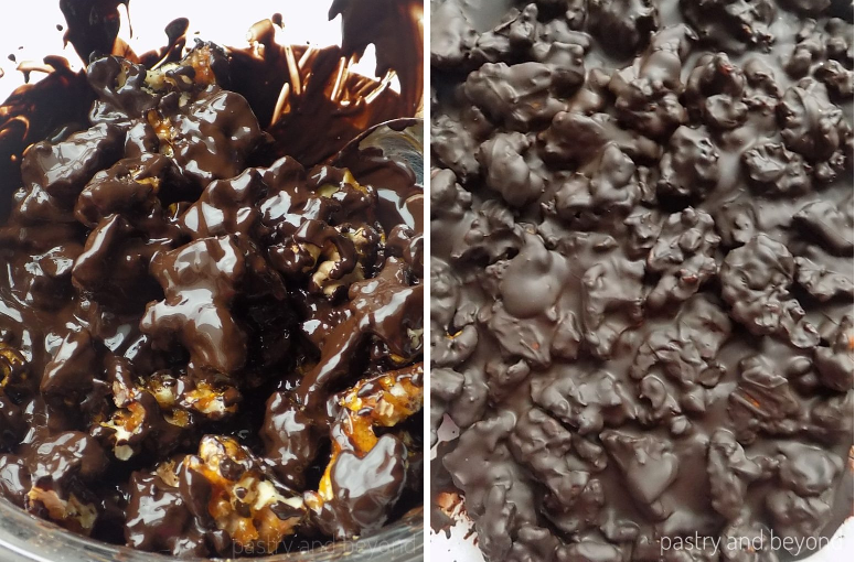 Caramelized walnuts are added into melted chocolate and after they are spread on a parchment paper.