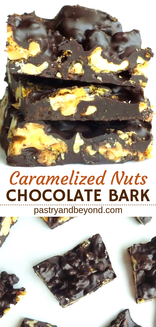 Collage of stacked and overhead view of chocolate candy bark.