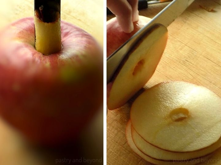 Coring the apple with an apple corer and thinly slicing the apple as circles.