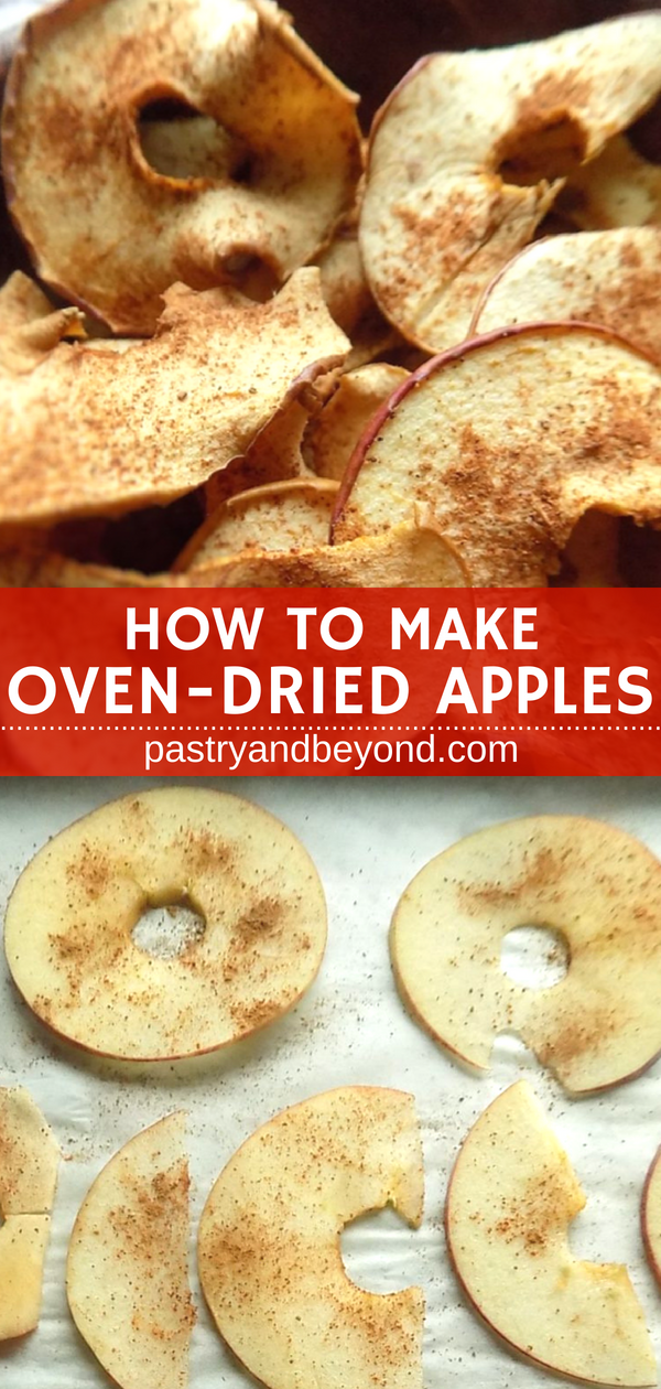 Collage of apple slices before and after oven dried.