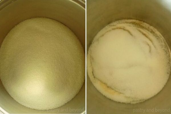 Placing sugar in a saucepan and melting by swirling the pan.