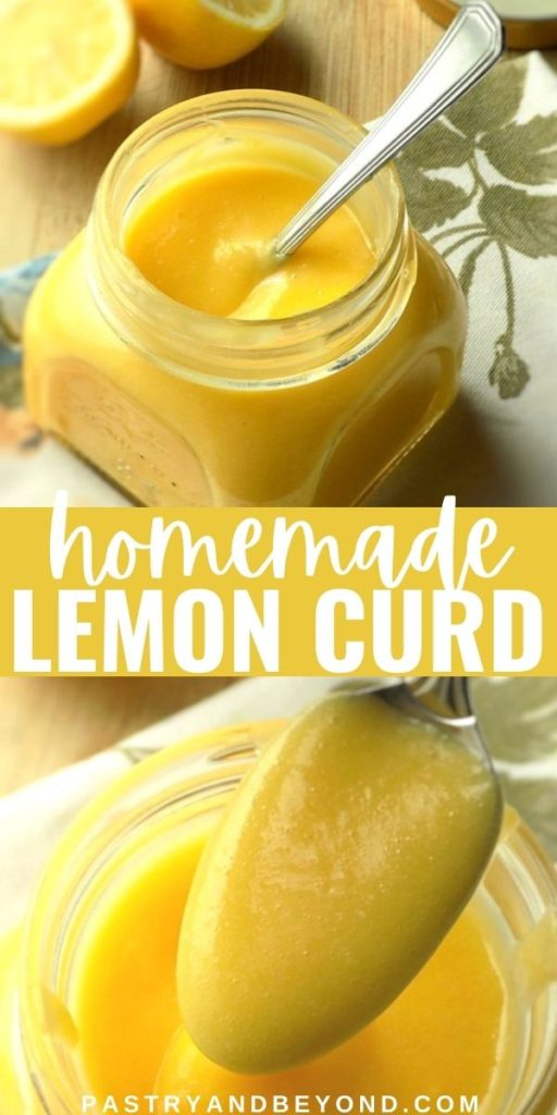 Homemade lemon curd in a jar and on a spoon.