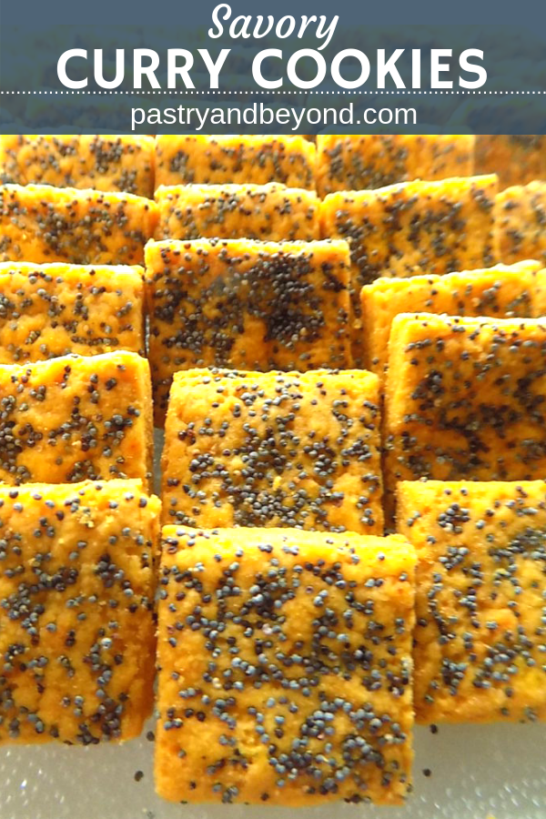 Savory curry cookies with poppy seeds in a row with text overlay.