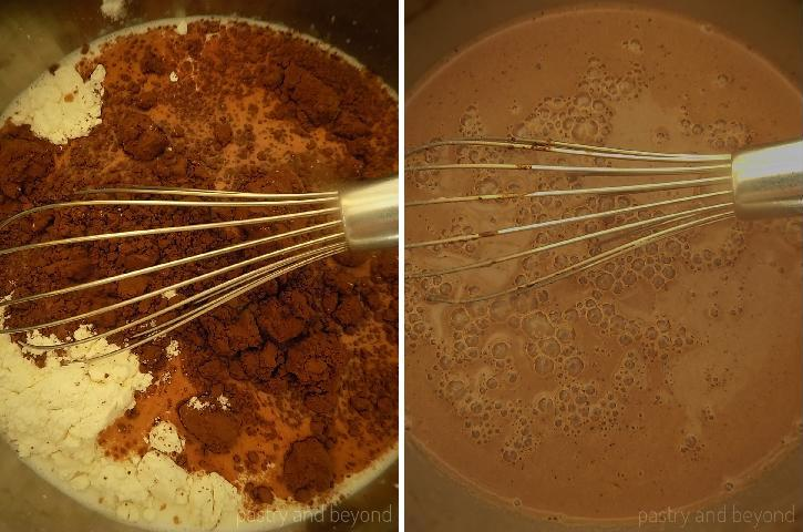 Steps of Making Best Cocoa Pudding: Mixing milk, cornstarch, flour, sugar and cocoa powder in a saucepan with a whisk.