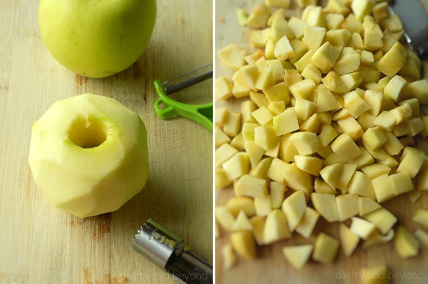Peeling, coring and slicing the apples into cubes almost 0,8 inches (2 cm) thick.