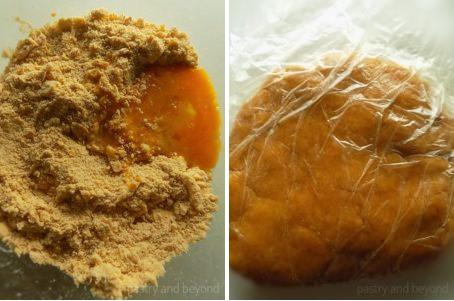 Steps of Making Curry Savory Cookies: Adding egg to the mixture and mixing until forming a ball. Resting the dough in the fridge.