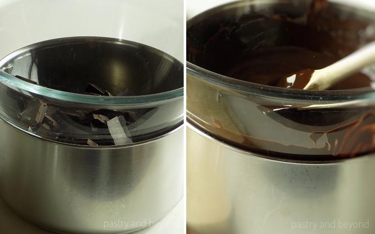 Chopped chocolate over bain marie in the first picture, melted chocolate over bain marie in the second picture.