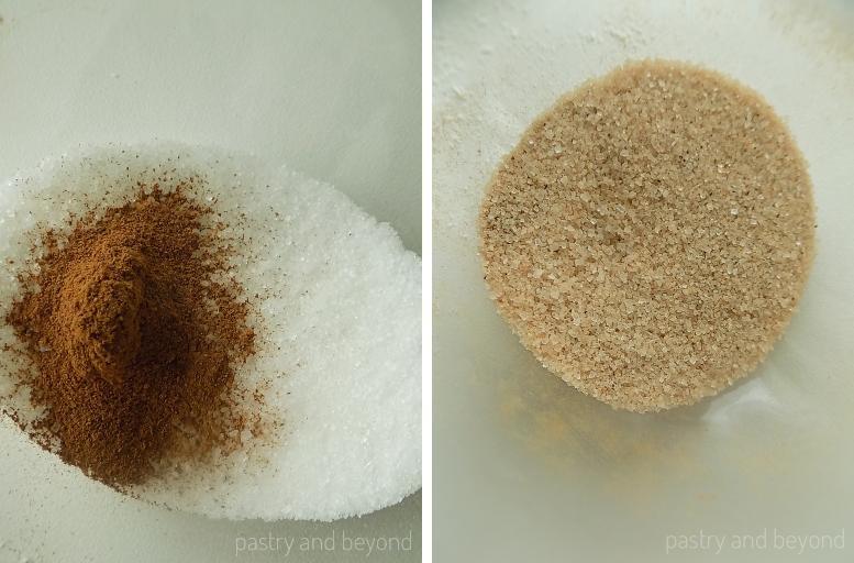 Steps of Making Cinnamon Sugar Crackers: Mixing sugar and cinnamon to make cinnamon sugar.