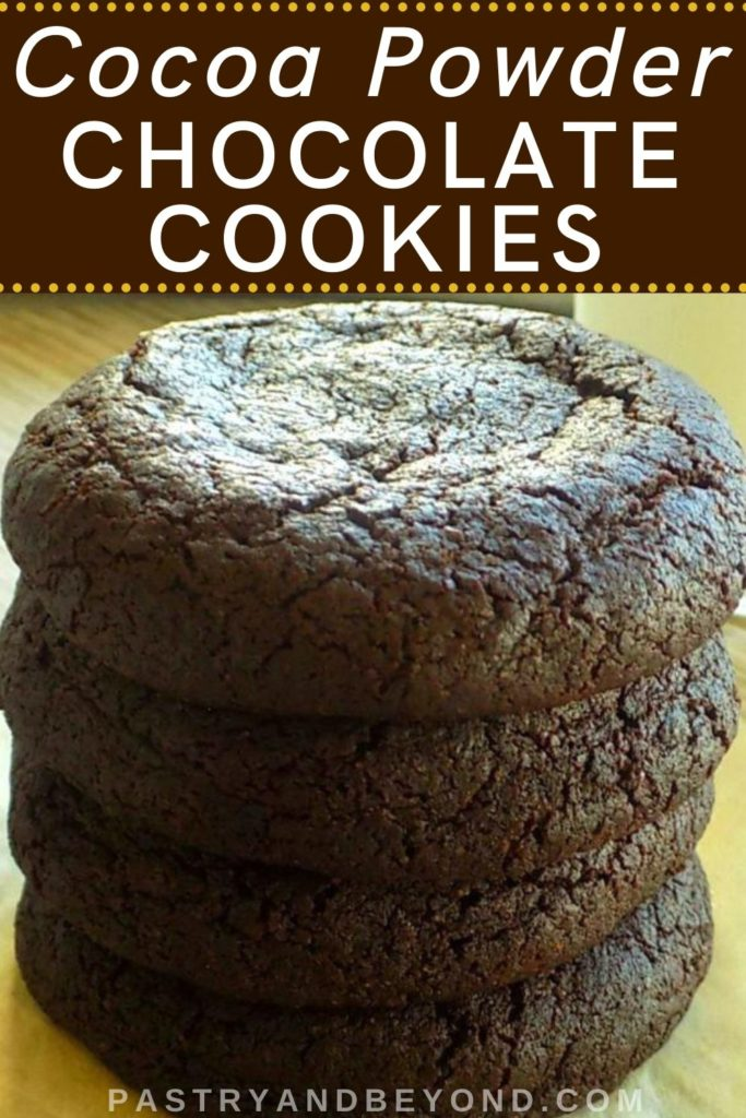Stacked cocoa cookies with text overlay.