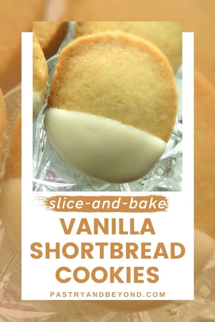 Vanilla shortbread cookie with text overlay.