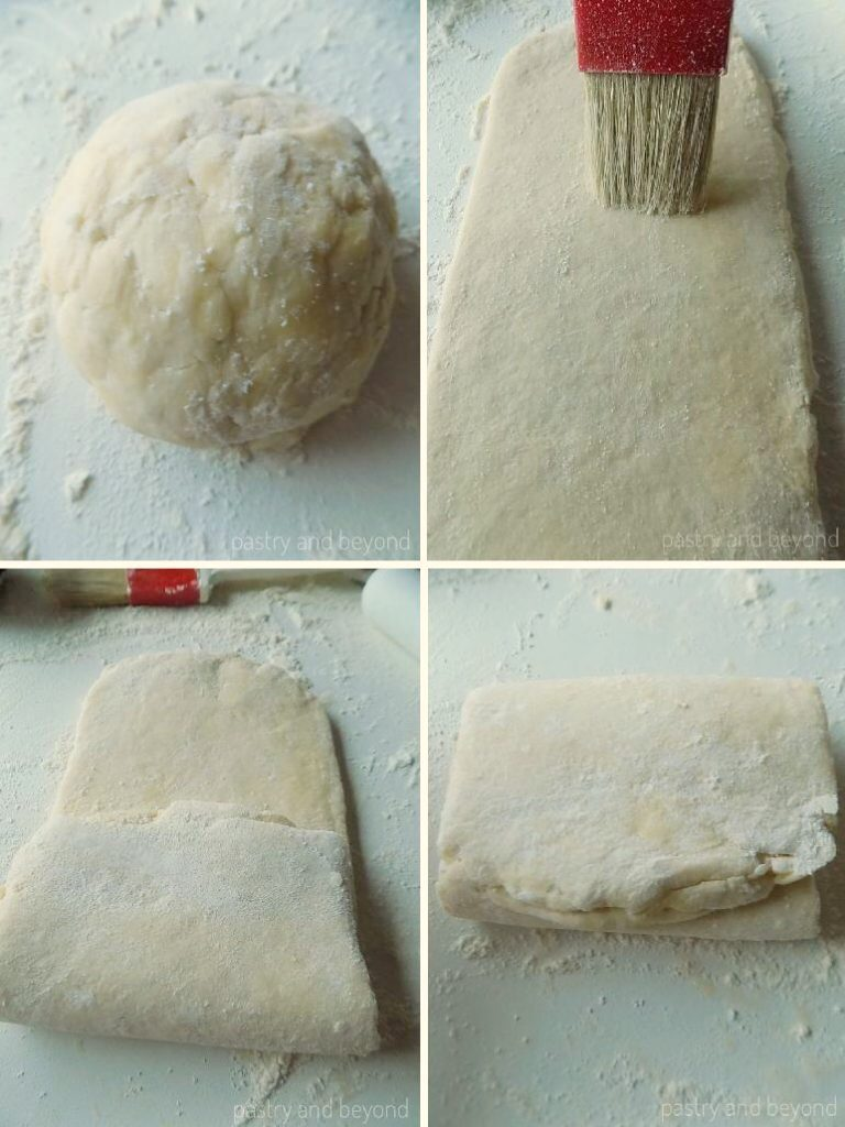 Rolling out the quick puff pastry dough and folding.