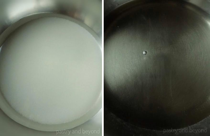Collage of sugar and water in a pan before and after sugar dissolves.