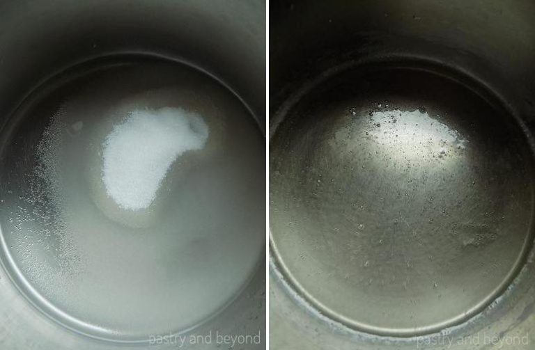 Sugar and water in a pan before and after dissolved.