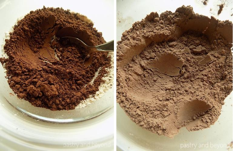Mixing cocoa, baking soda and flour in a glass bowl.