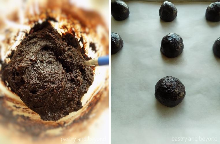 Collage of cookie dough and balls out of the dough.