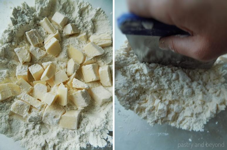 Steps of Making Quick Puff Pastry: Mixing flour & salt in a big mixing bowl and adding the butter and cutting into the flour.