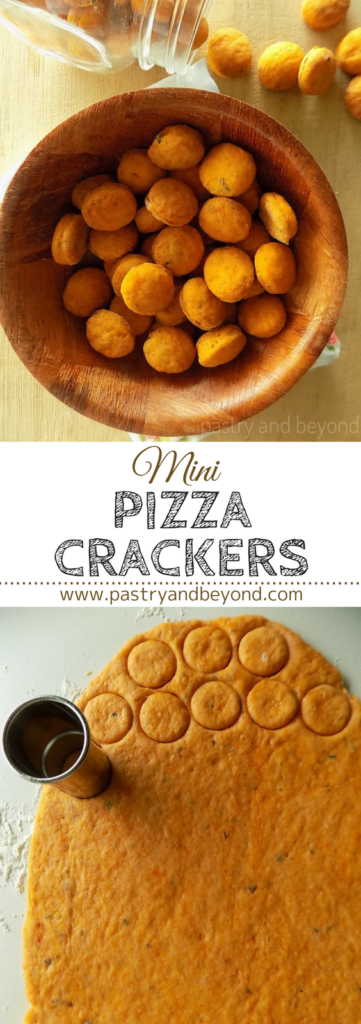 Mini Pizza Crackers-These yummy mini pizza crackers are crunchy and they taste just like pizza!#crackers #pizza #pizzacrackers Recipe on pastryandbeyond.com