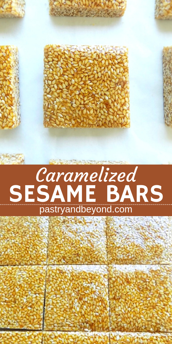 Collage for caramelized sesame bars with text overlay.
