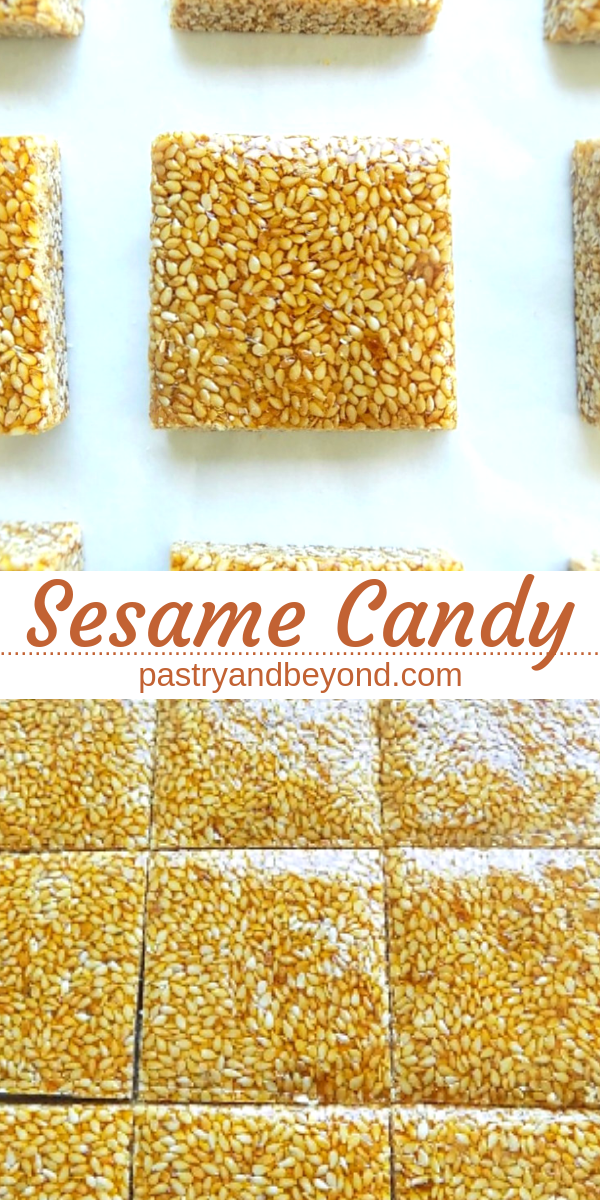 Collage for sesame candy with text overlay.