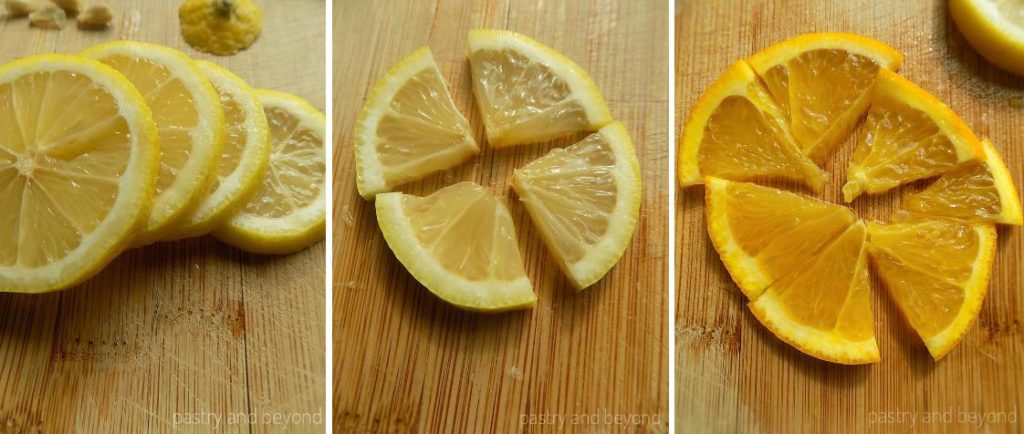 Cutting lemon and orange slices into pieces.