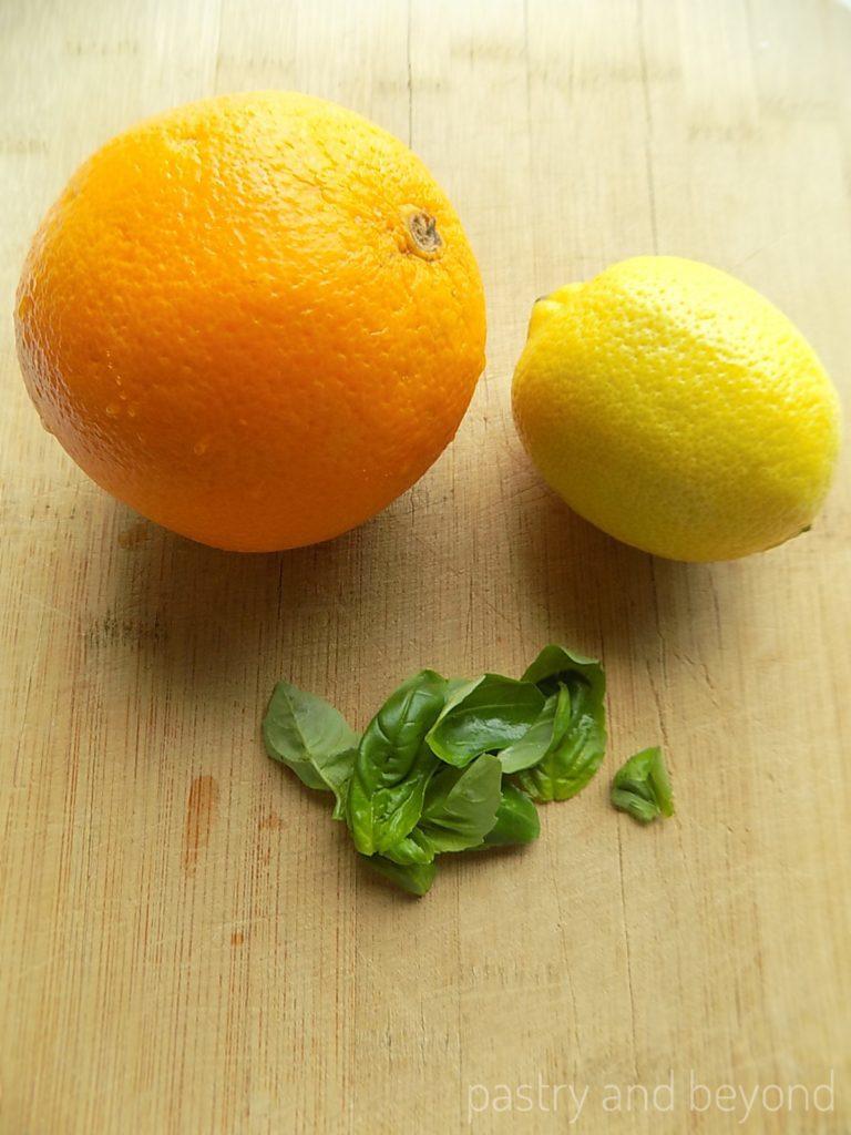 Lemon, orange and basil leaves.