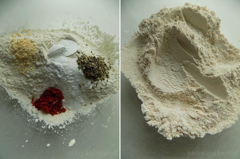 Mixing flour, salt, sugar, baking powder, thyme, paprika, dried onion flakes in a bowl.
