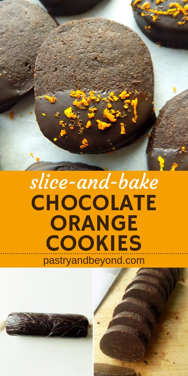 Slice-and-bake chocolate orange cookies with text overlay.