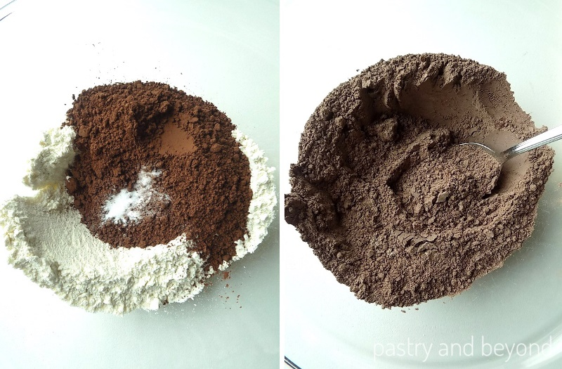 Mixing flour, cocoa powder and baking soda in a glass bowl.