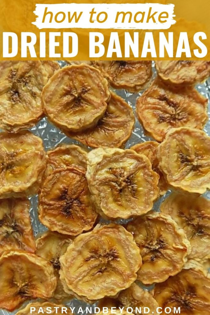 Dried bananas with text overlay.