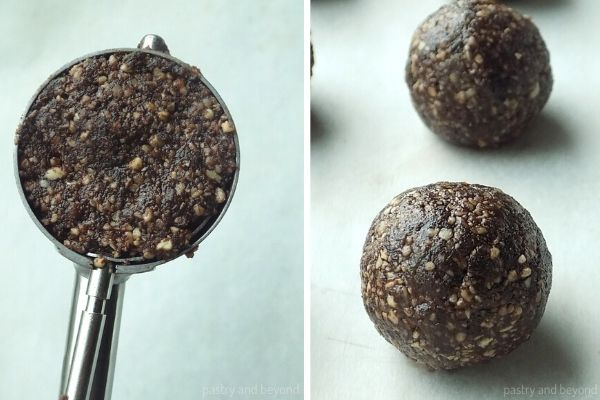 Mixture on a cookie scoop and balls made of this mixture.