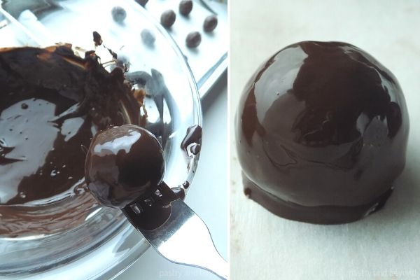 Dipping the energy balls into the melted chocolate.