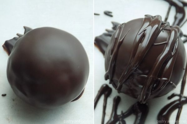 Chocolate drizzled over chocolate dipped raisin ball.