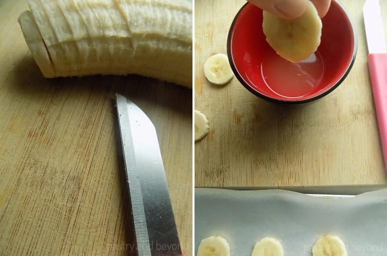 Collage of sliced bananas and sliced banana dipped in lemon juice.
