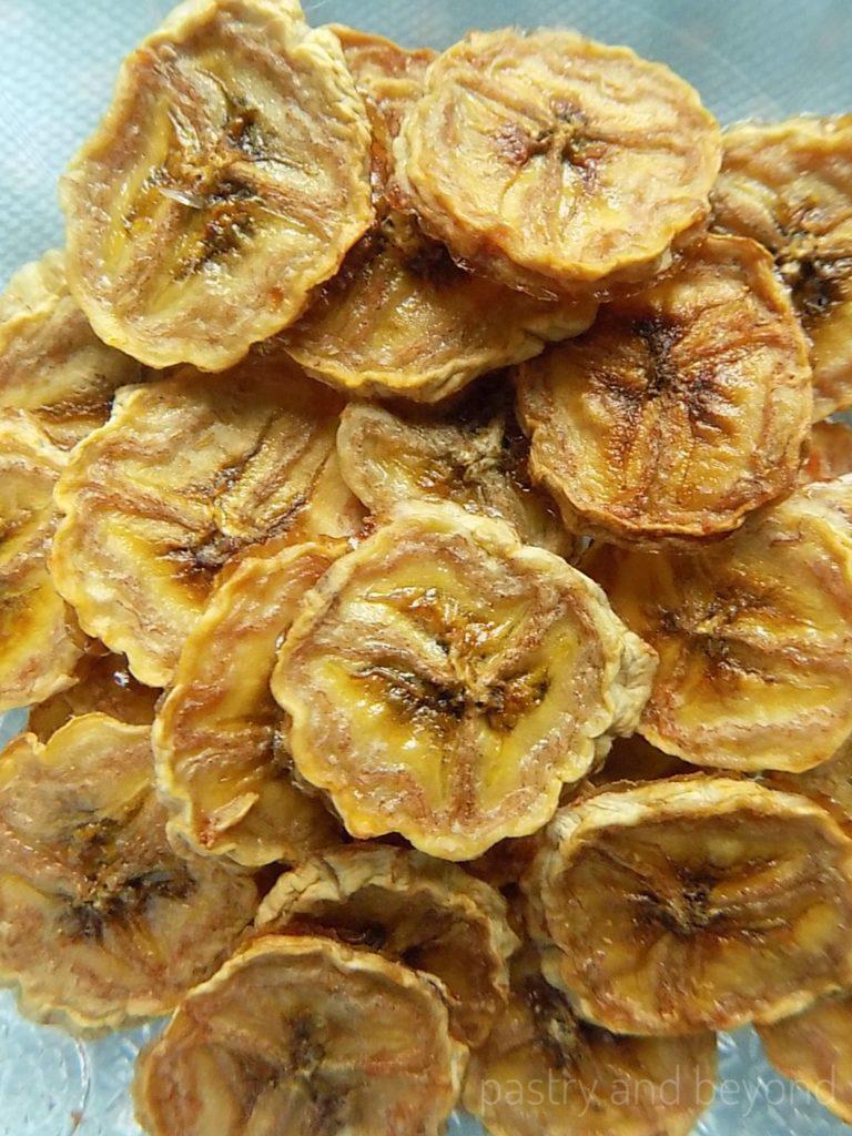 A close up of dried bananas.