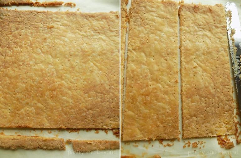 Trimming the edges of baked pastry and cutting into 3 pieces.