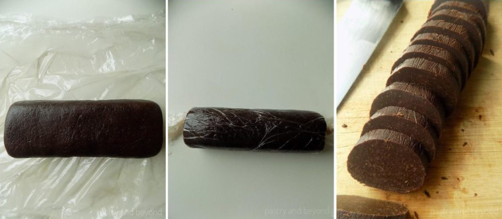 Step by Step Pictures of Chocolate Orange Cookies: Making log out of the dough and slicing the dough.