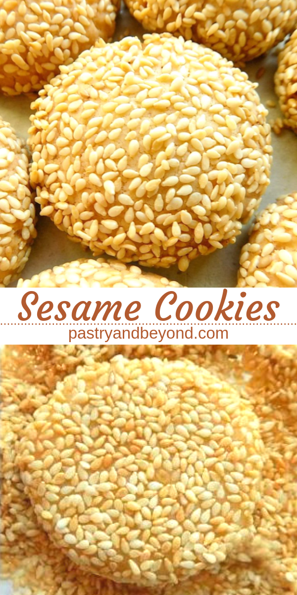 Sesame cookies with text overlay.