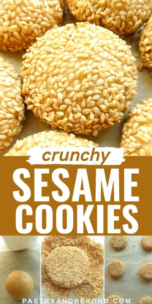 Sesame cookie and steps with text overlay.