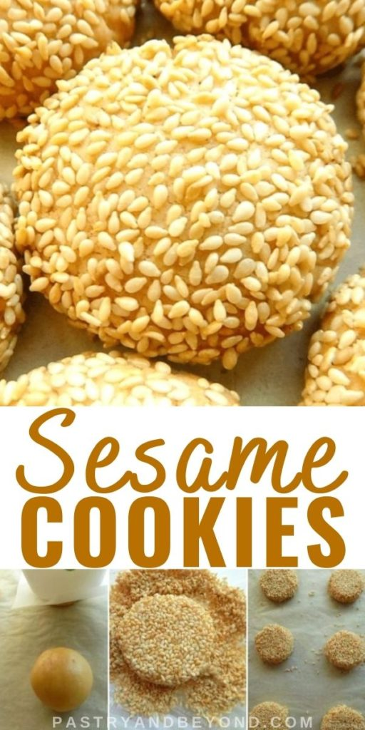 Image for sesame cookies and the steps showing how to make them.